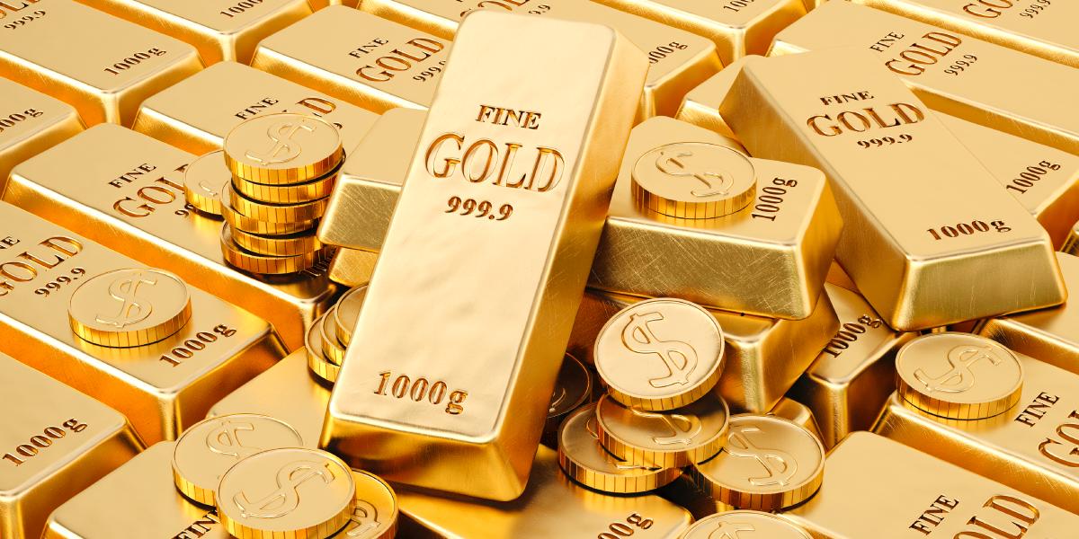 24 karat 99.99% gold bar and coins