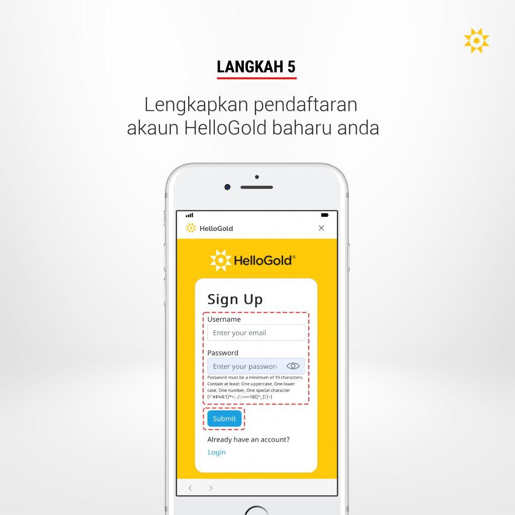 Langkah 5: Lengkapkan pendaftaran akaun HelloGold baharu anda